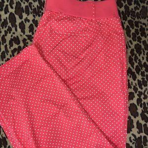 Peachy pink polka dot pants